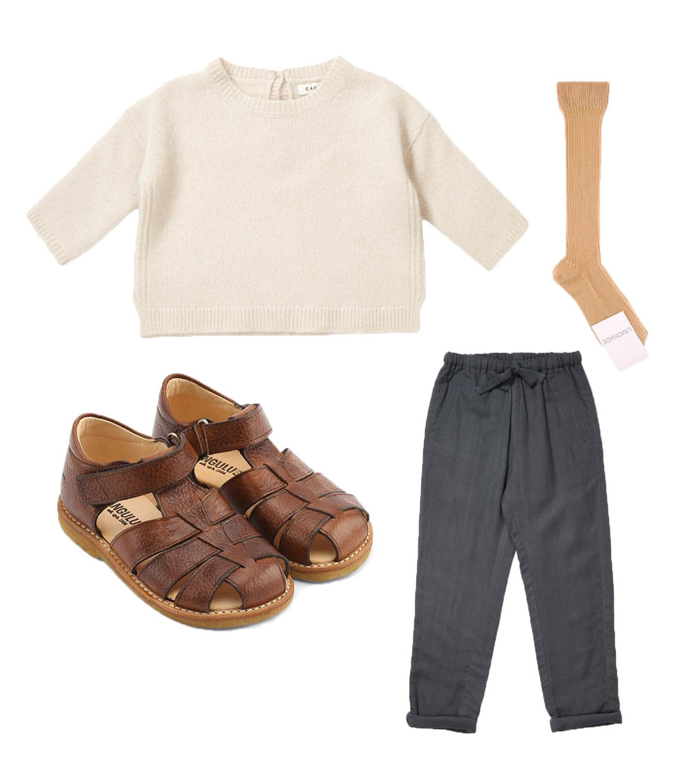 Sweater/ CARAMEL  Socks/ LIMONADE  Sandals/ ANGULUS  Pants/ CARAMEL