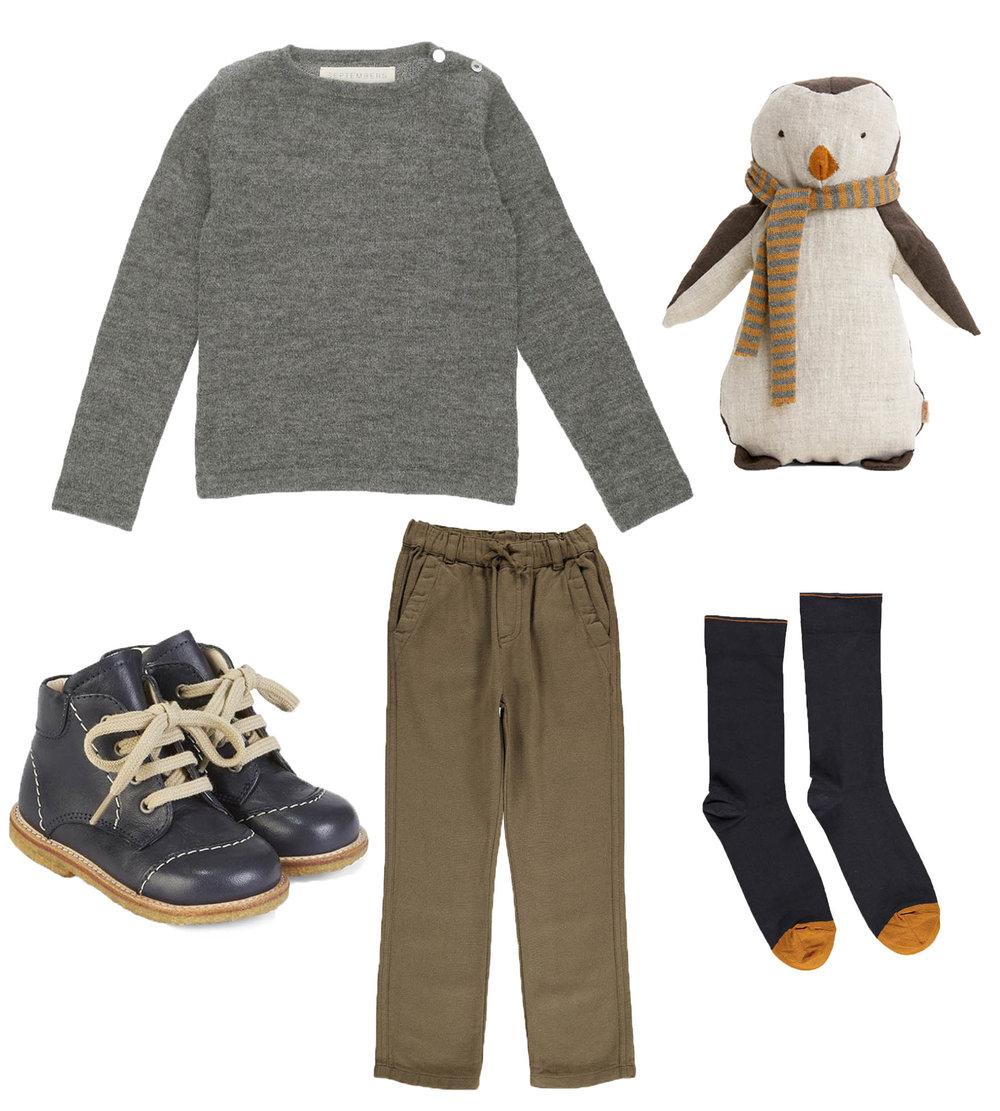 Knit/ SEPTEMBERS  Penguin Boy/ MAILEG  Shoes/ ANGULUS  Pants/ BONTON  Socks/ BONNE MAISON