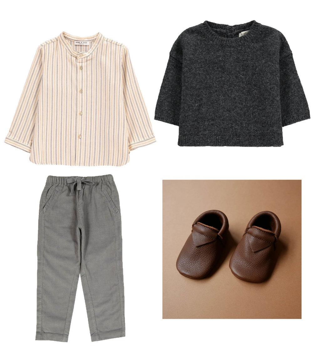 Shirt// BABE & TESS  Pants// CARAMEL  Knit// CARAMEL  Moccs// BETON STUDIOS