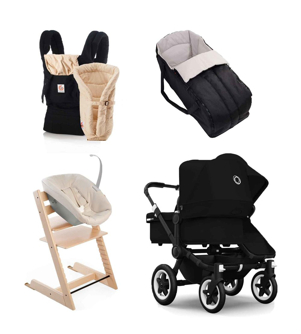Baby Carrier// ERGOBABY High chair// TRIPP TRAPP / STOKKE Baby carrycot// PHIL&TEDS  Stroller// BUGABOO DONKEY