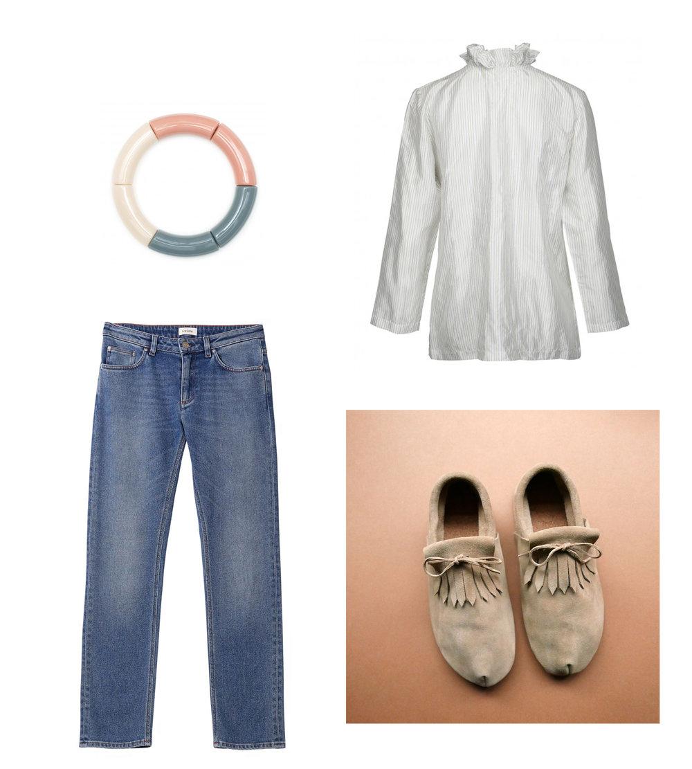 Bracelet// KYOTO TANGO  Shirt// MILSTED WEAR  Jeans// TOTEME  Moccs// BETON