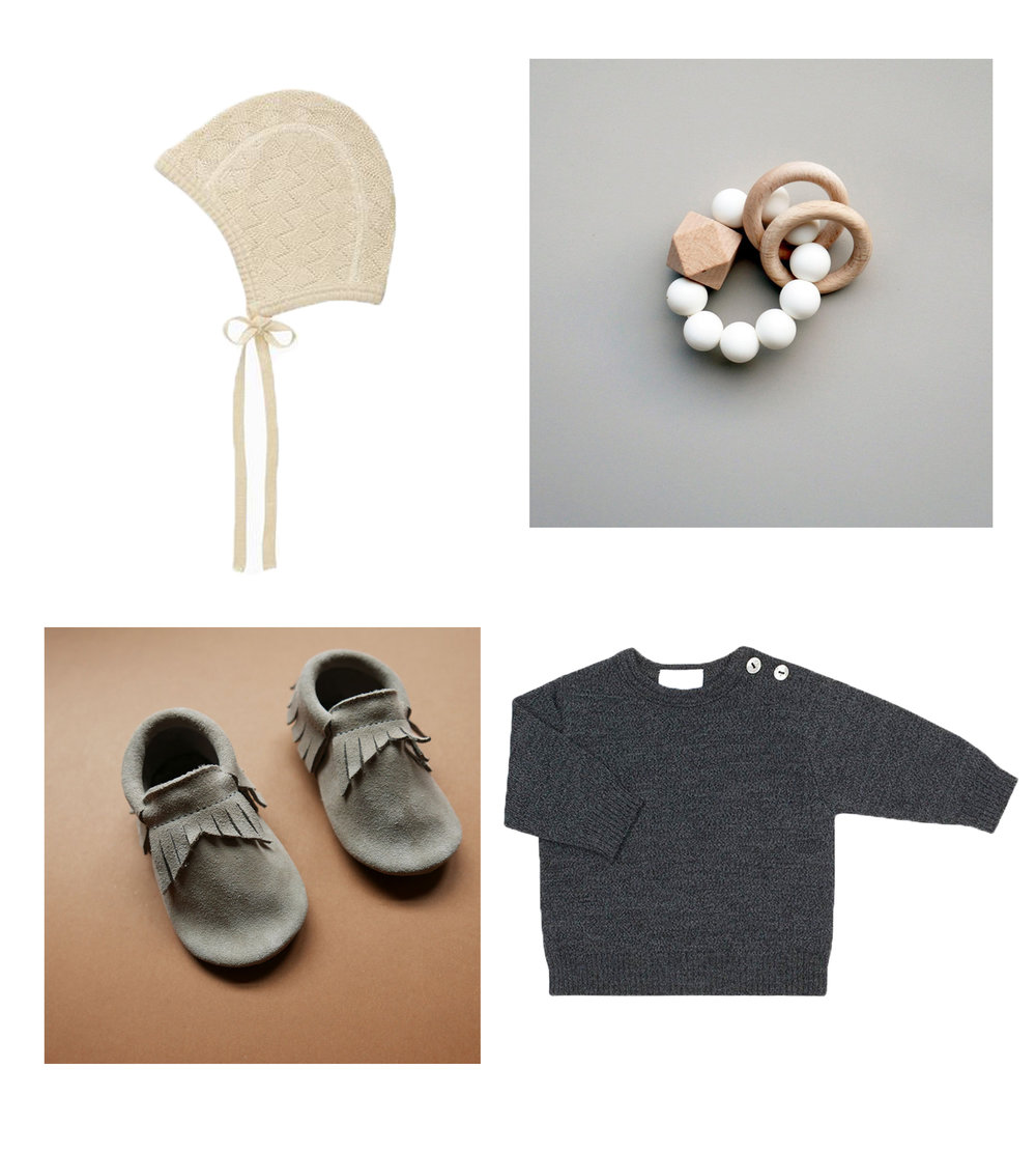 Bonnet// SELANA  Teething ring// TITAN TEETHERS  Moccs// BETON  Sweater// SELANA