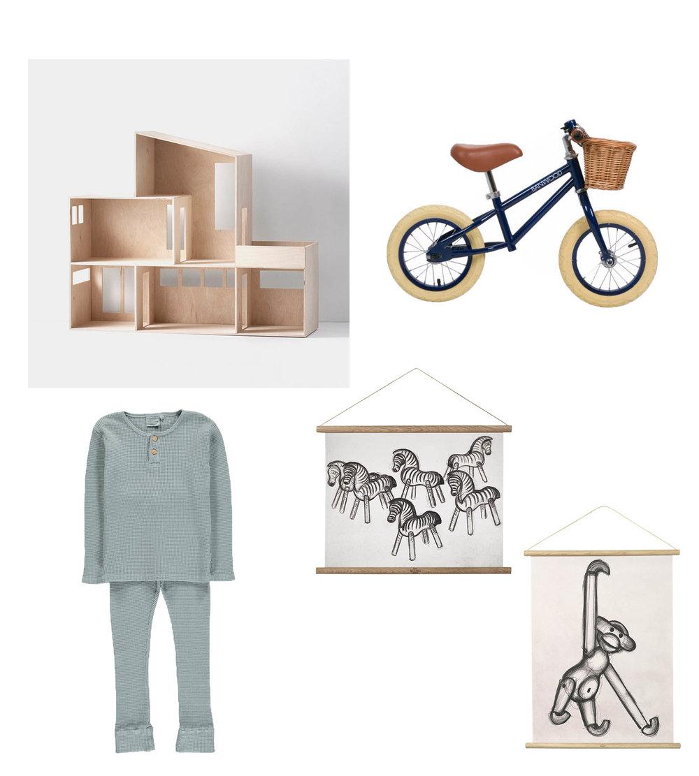 Miniature Funkis House// FERM LIVING  Bike// BANWOOD Pyjama Set// MOUMOUT  Posters// KAY BOJESEN