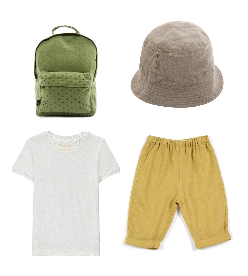 Backpack/ BONTON Hat/ OMIBIA  T-Shirt/ BELLEROSE Trousers/ OMIBIA
