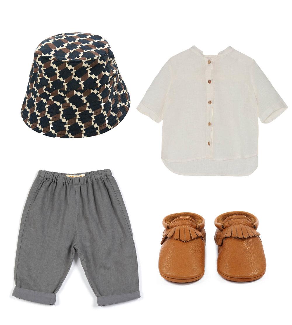 Hat/ CARAMEL  Shirt/ YELLOWPELOTA  Trousers/ OMIBIA  Slippers/ AMY &IVOR