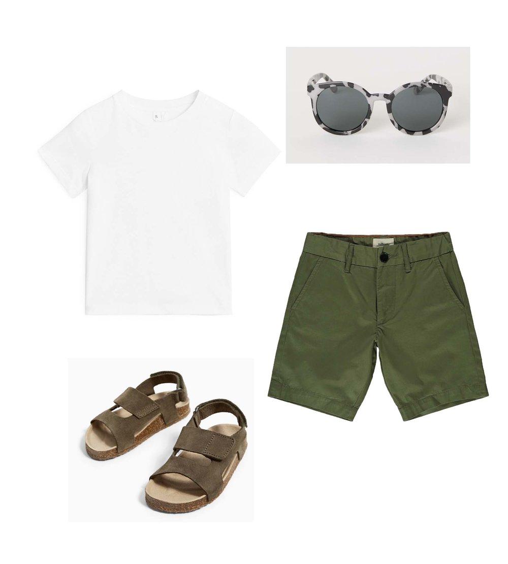 Sunglasses/ H&M  T-shirt/ ARKET  Shots/ BELLEROSE  Sandals/ ZARA