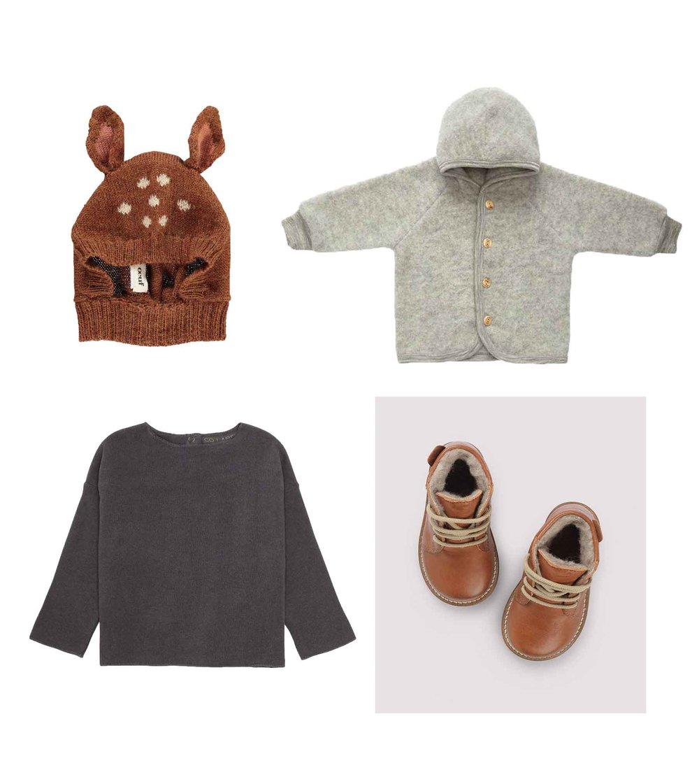 Hood/ OEUF  Jacket/ ENGEL  Blouse/ CO LABEL  Shoes/ PETIT NORD