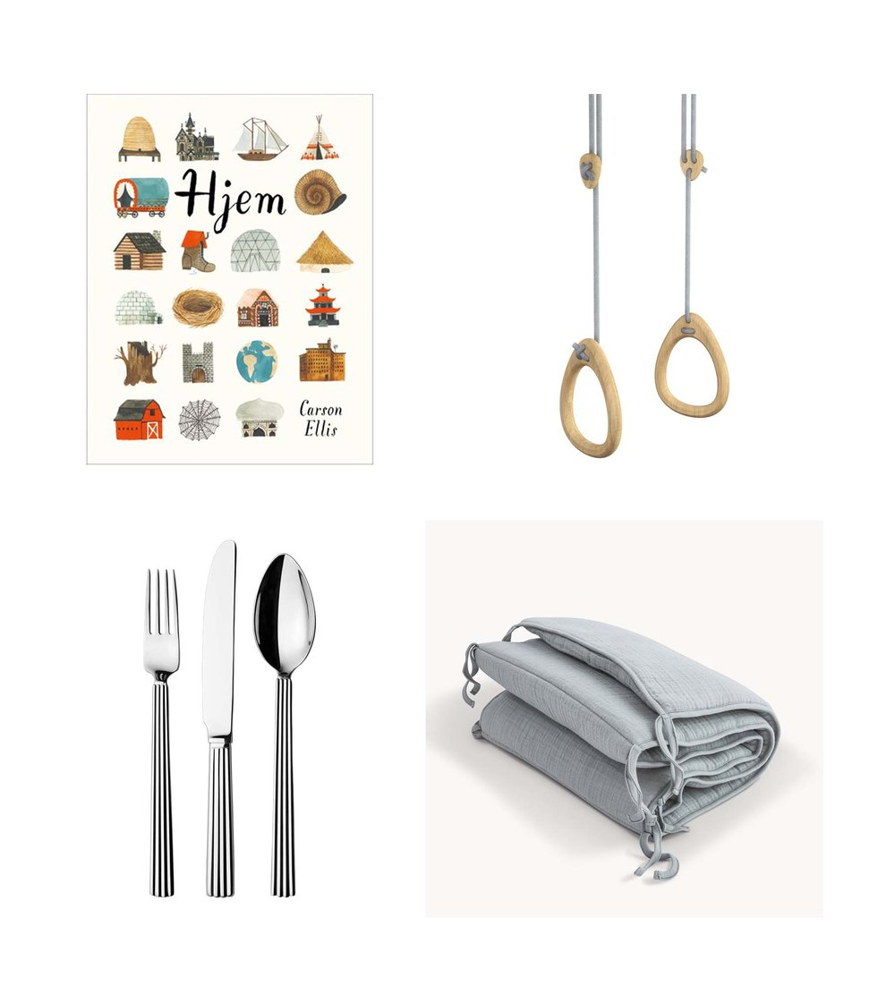 Book/ CARSON ELLIS: HJEM  Gymnastic rings/ LILLAGUNGA  Cutlery set/ GEORG JENSEN  Bed bumper/ MOUMOUT