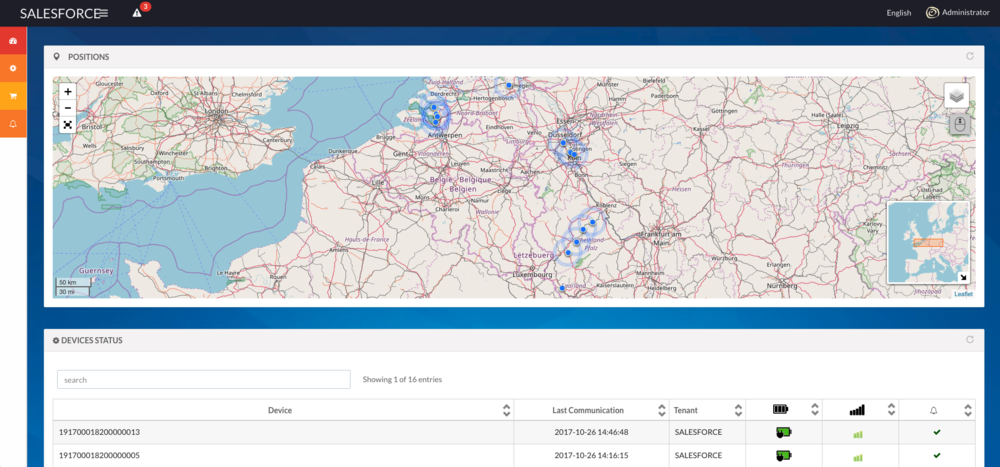 A screenshot of one of our tracking applications
