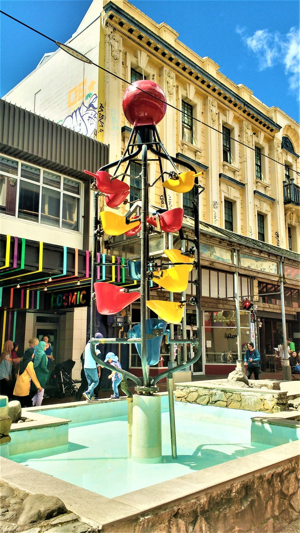 The iconic Cuba Street bucket fountain is one of the best free things to do in wellington