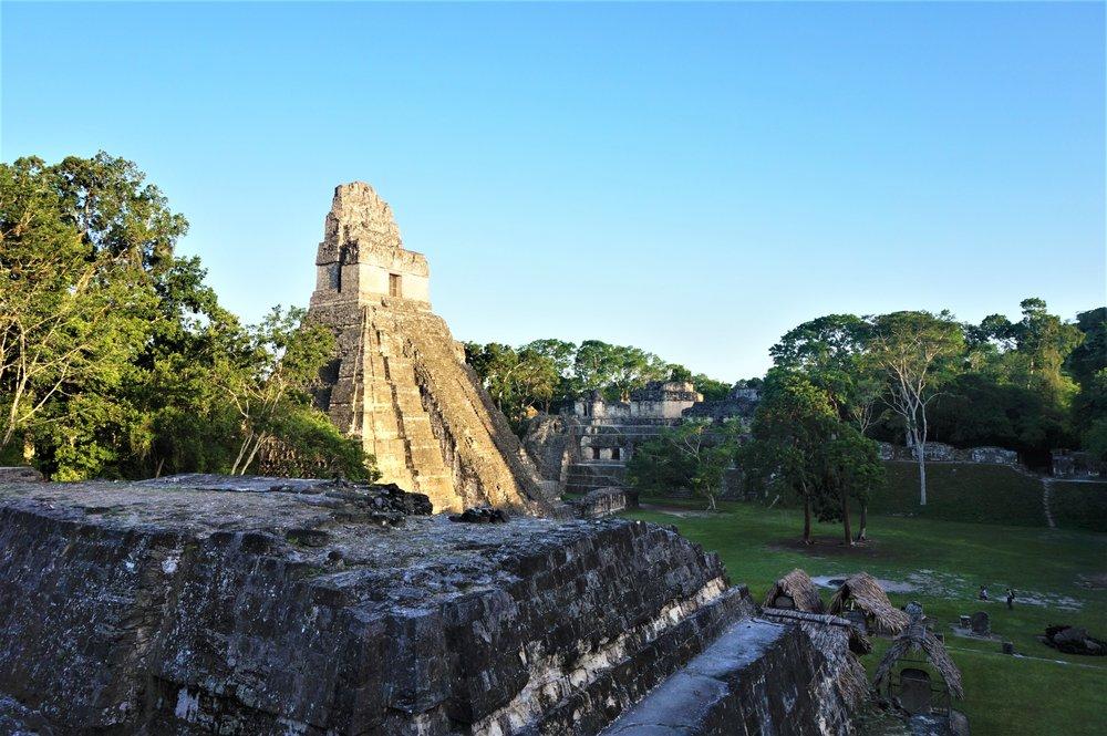 Sunset Tikal ruins guatemala. Camp at tikal