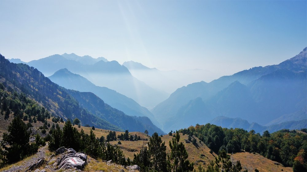Views on the way to the Blue Eye, Theth, Albania hiking in Albania