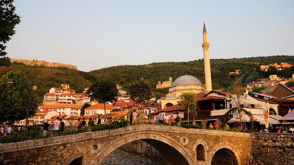 Sunset over the old town of Prizren, Kosovo a great place to stop when travelling the Balkans