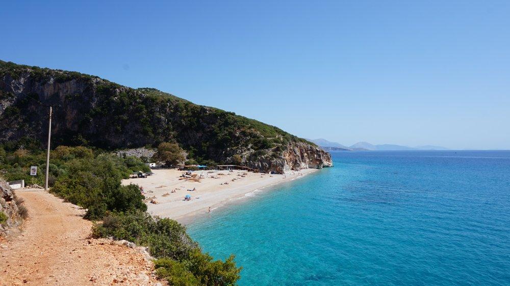 Wild camping on Gjipe beach Albania