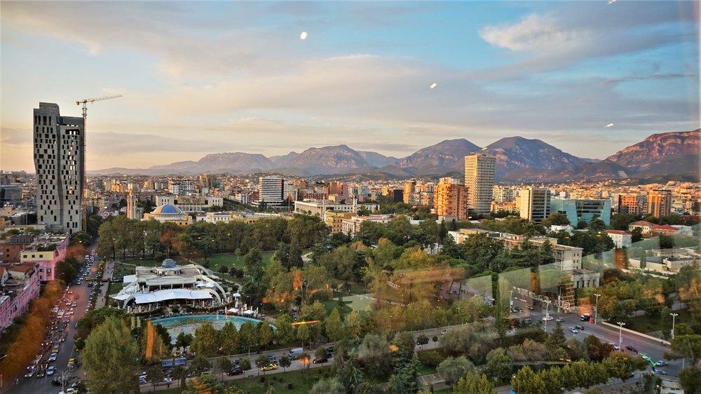 tirana things to do. City views from sky tower tirana