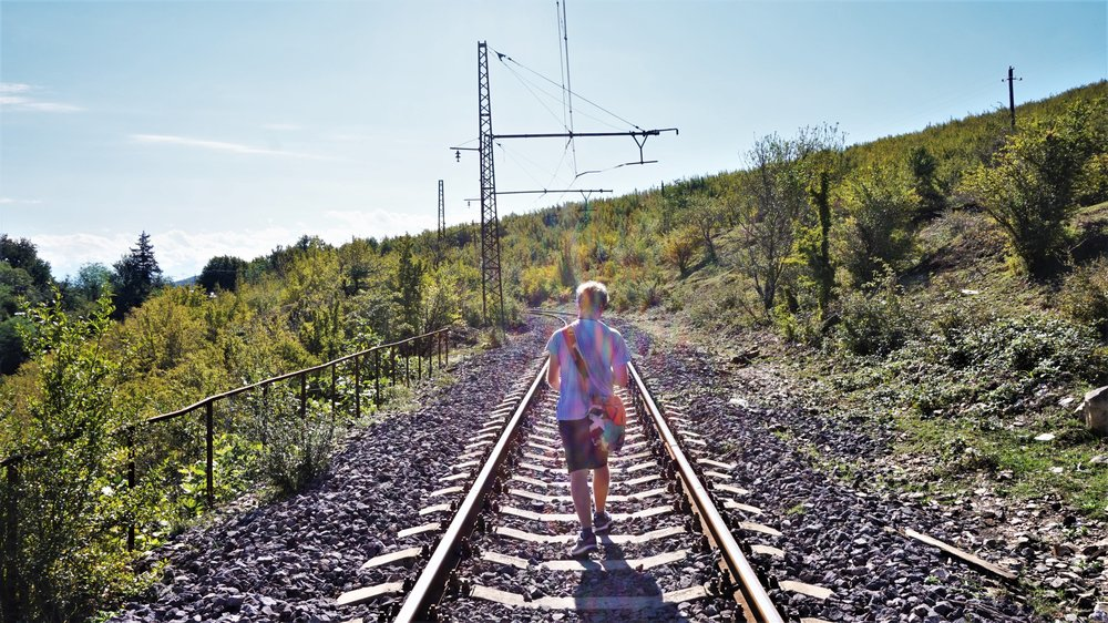 walking from Gelati monastery to motsameta monastery along the train tracks