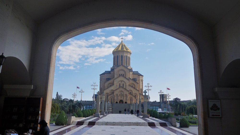 the holy trinity cathedral in tbilisi, georgia. this cathdral is a must-see in tbilisi