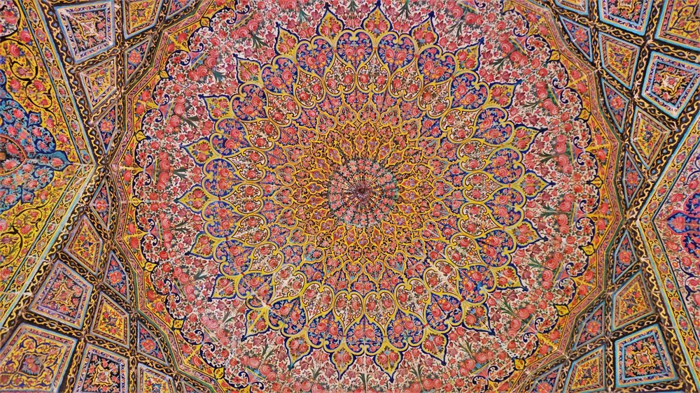 tiles on the roof of the pink mosque in shiraz iran