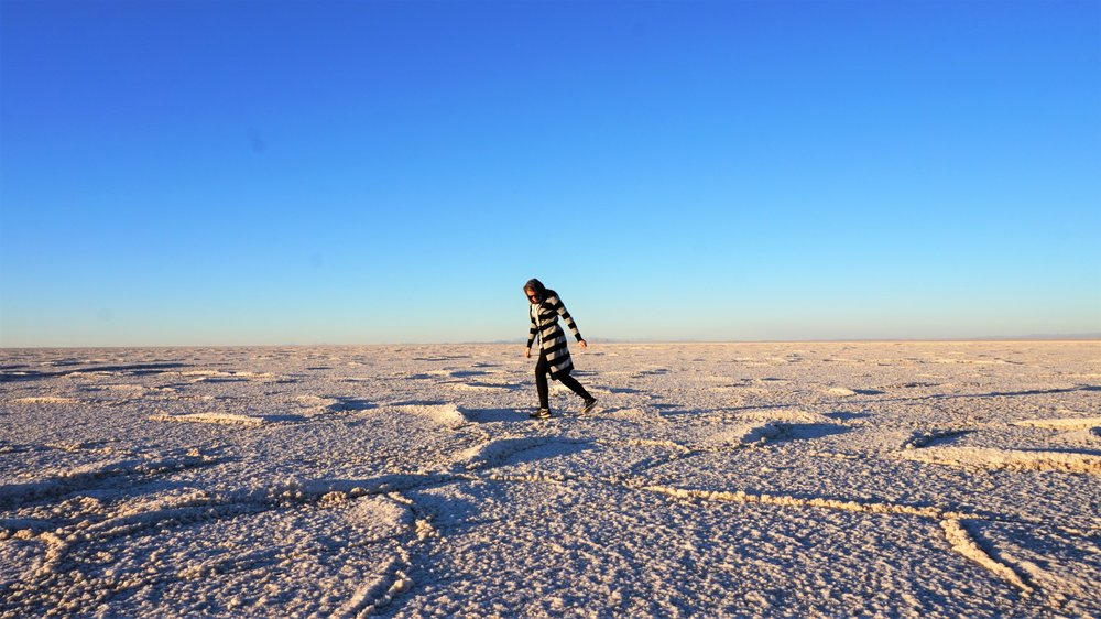 salt flats in sirjan iran