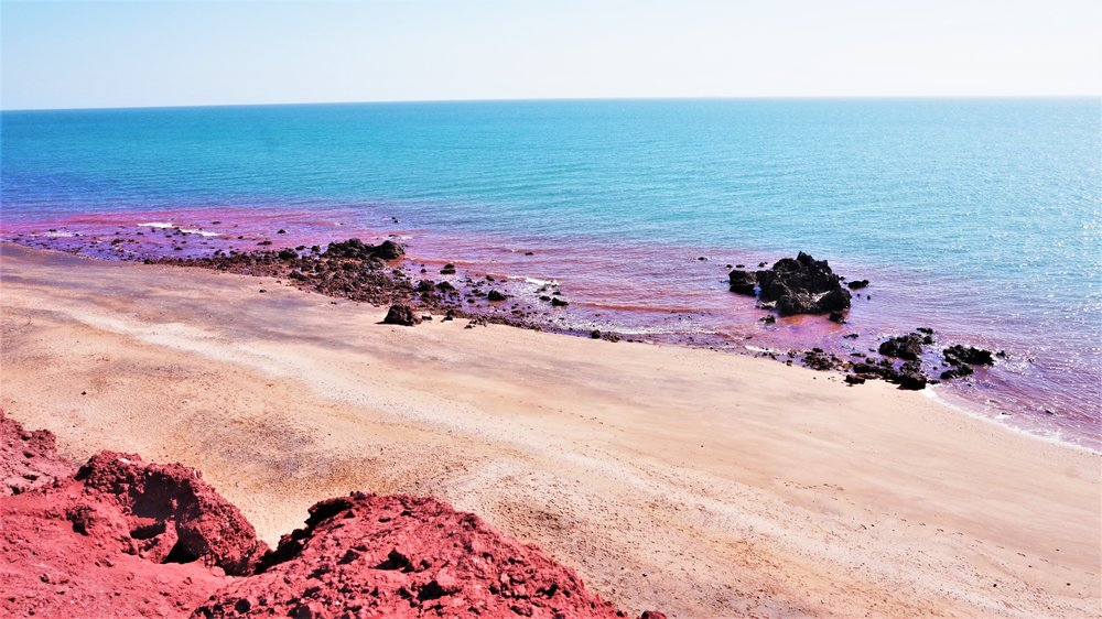 red beach hormuz island iran persian gulf