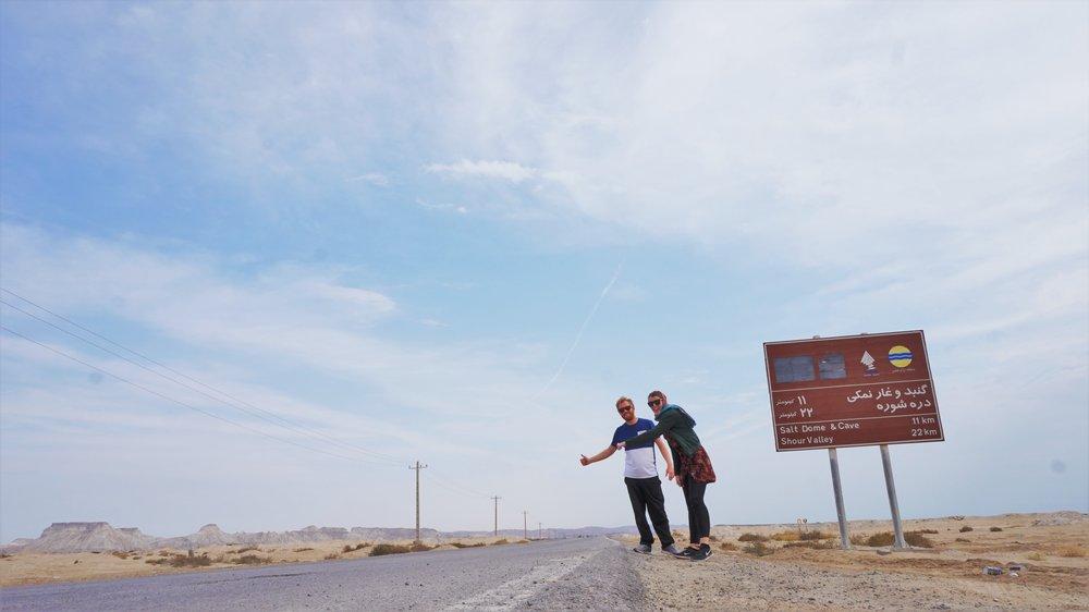 hitchhiking on Qeshm island Iran