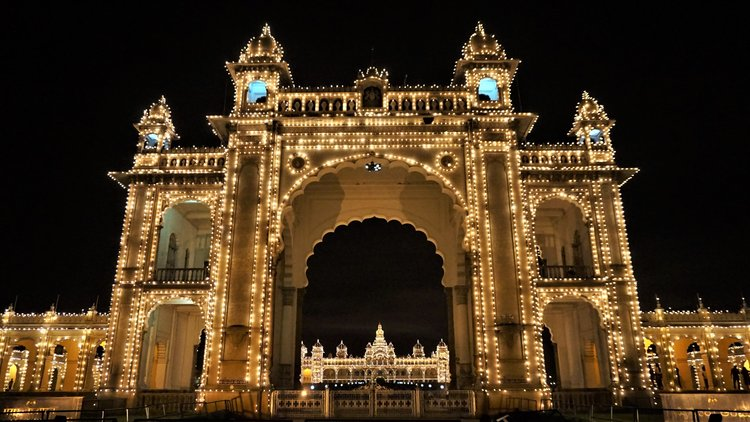 Mysore Palace at night best things to see in Mysore Karnataka