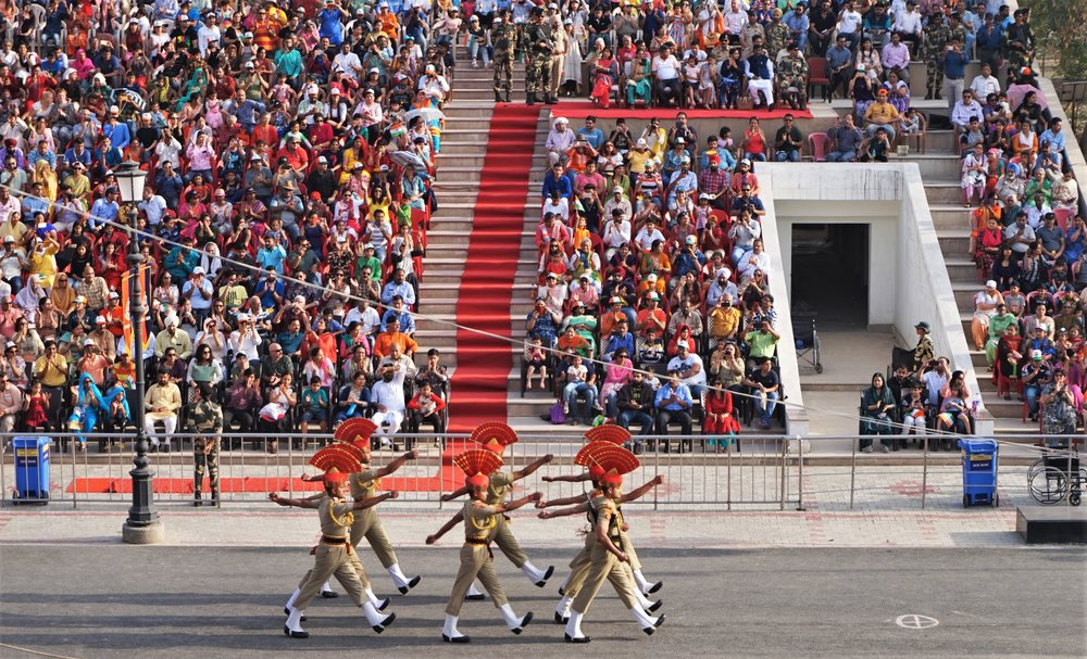 Indian border guards on parade at the wagah border ceremony, amritsar, india. Wagah border parade