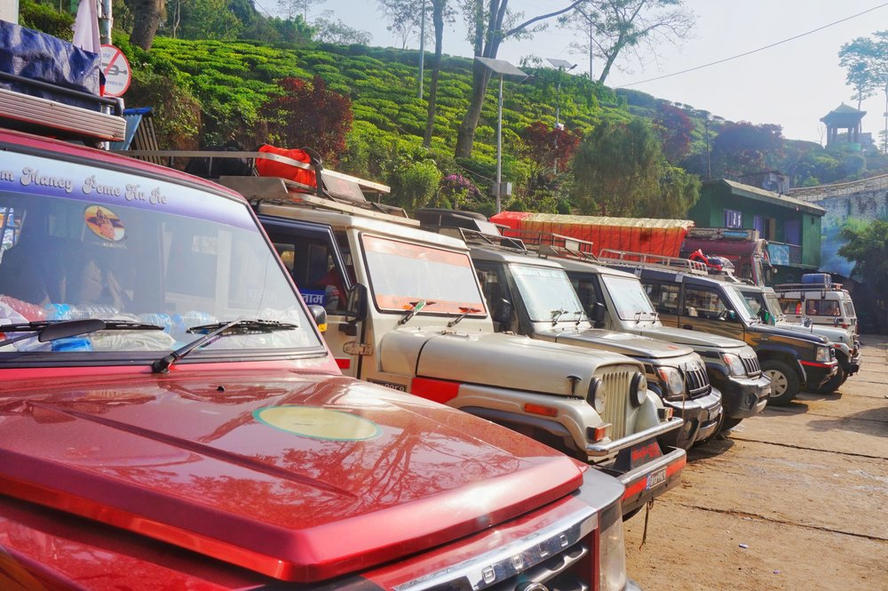 Jeeps at the bus stand in Ilam, Nepal