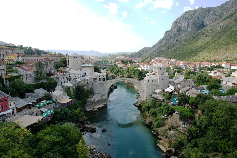 Mostar in  Bosnia and Herzegovina makes a great city break destination because of its beautiful architecture and the impressive bridge in the city centre.