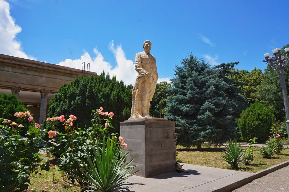 Visit the Joseph Stalin statue outside the Stalin house in Gori, one of the best things to see on your day trip to Gori from Tbilisi.