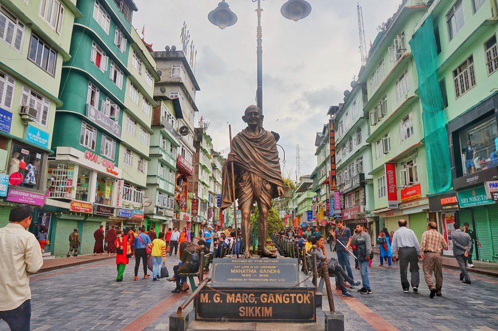 The statue of Mahatma Gandhi is a must see when backpacking in Sikkim, India
