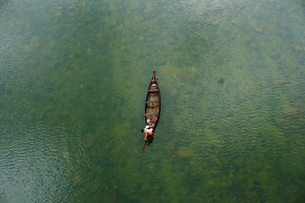 Backpacking Meghalaya. River near Shnongpdeng is a must visit destination.