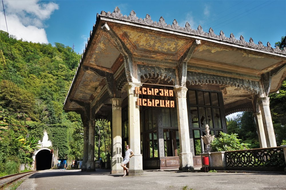 Visit the old abandoned railway station is one of the things to do in Abkhazia.