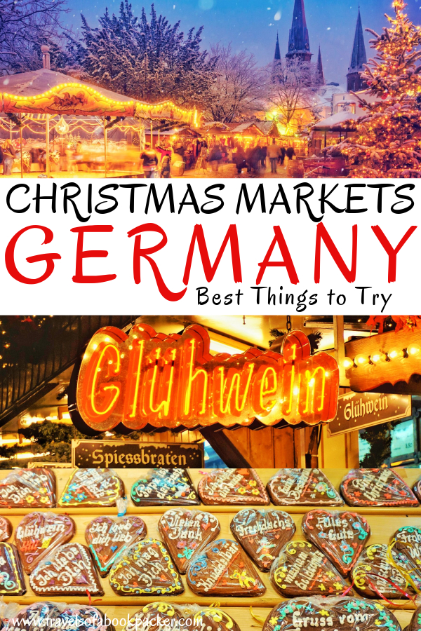 Planning a winter trip to Europe? Don't miss the gorgeous German Christmas Markets. Read about delicious things to try at a traditional German Christmas market. #christmasmarket #germany #winter #glühwein #food #christmastime #travel #fairytale #fairytalemarkets