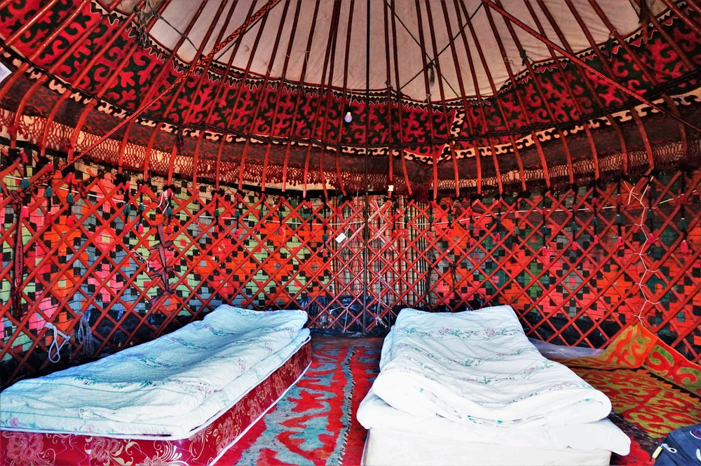 Sleeping in a yurt is an unique experience and is an awesome thing to do in Kyrgyzstan!
