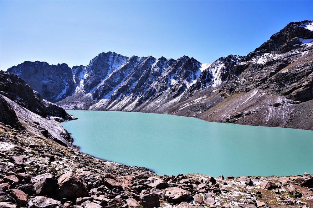 You get rewarded with beautiful views at the top of the Ala Kul lake trek.