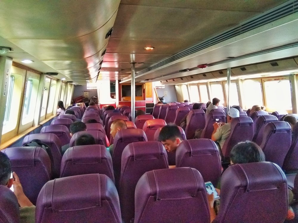 Very comfortable seats on the ferry from Brunei to Kota Kinabalu.