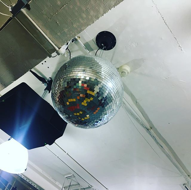 Setting up for #brightideasbigchange at @wiedenkennedy tonight with #LYCP. Come and drive #socialchange under their disco ball! @jutashoes @bloombakery_london