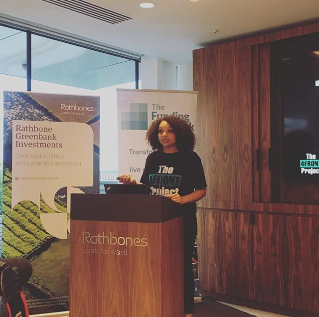 Having a great time at #TFNLondon tonight! You might remember @temimwale from our event last year with @LSE volunteering - she's here tonight pitching to empower young people to reduce serious youth violence through the project she funded, @4frontproject