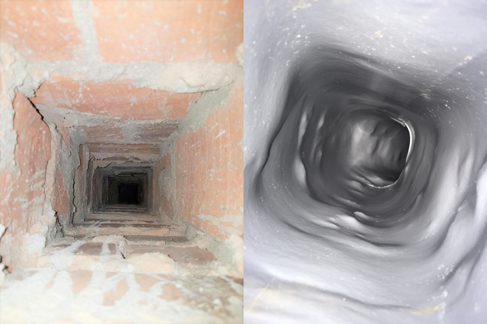 En före och efterbild på en renoverad ventilationskanal.