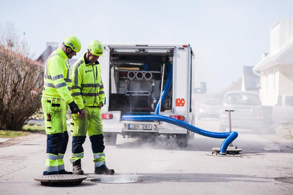 Utredning av tillskottsvatten med hjälp av rök.
