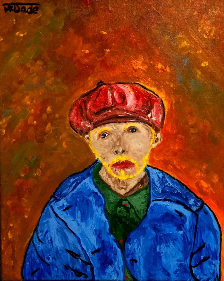 """  Man in Newsboy Hat "" 16x20 acrylic on canvas"