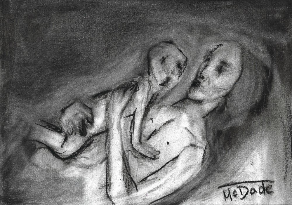 """ Mother and Child "" 7x10 charcoal on paper"