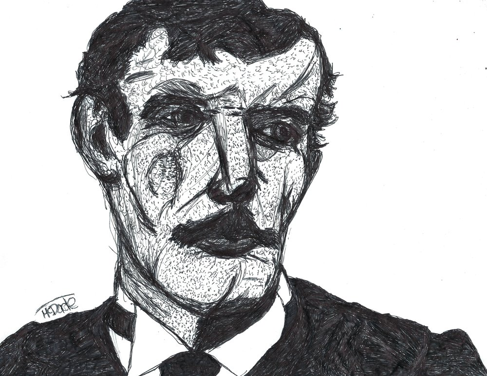 """ Edvard Munch "" 8.5x11 pen and ink on paper"