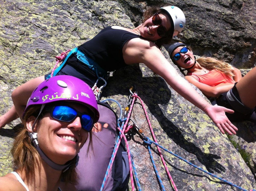 Hanging out mid-climb with Celine and Klara.
