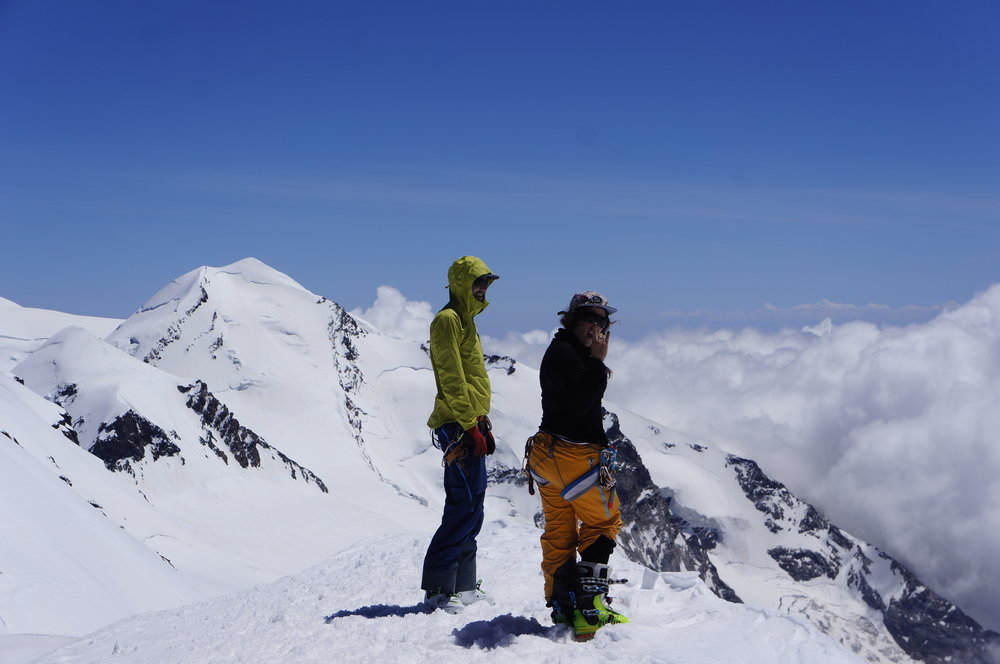 Breithorn- my first 4000m summit with Castor in the background.