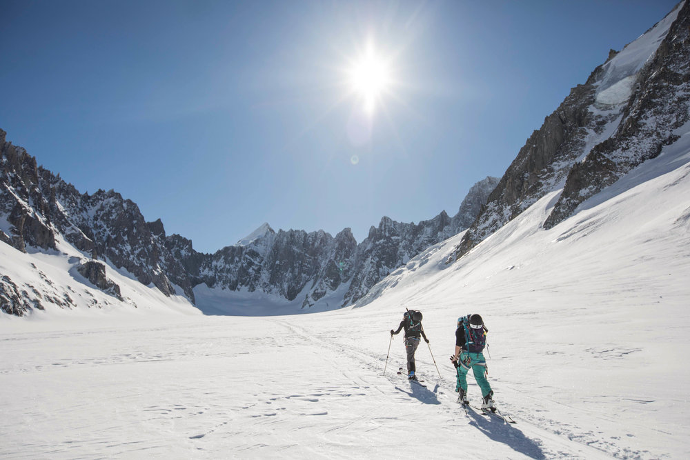 Anna and I traversing the Argentiere Basin in search of steep ski descents. Photo: Linus Meyer