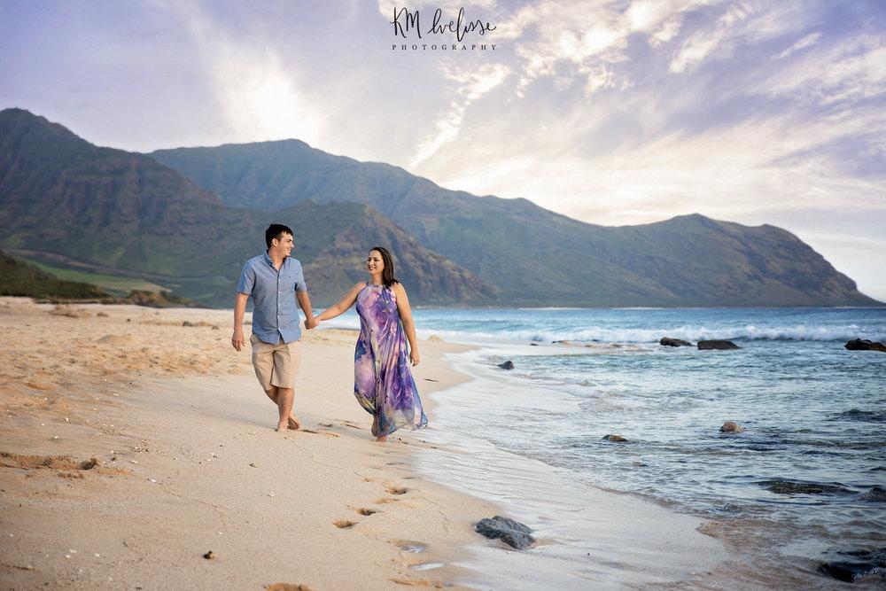 Oahu Hawaii Yokohama Bay Beach Yokes Westside Waianae Beach Couples Photo shoot Photography