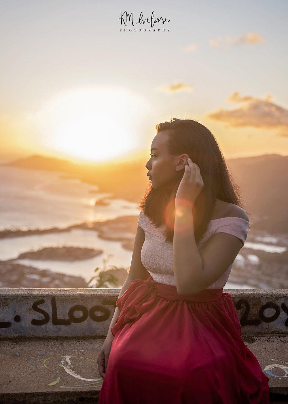 Senior portrait session kokohead hike red dress sunset photographer