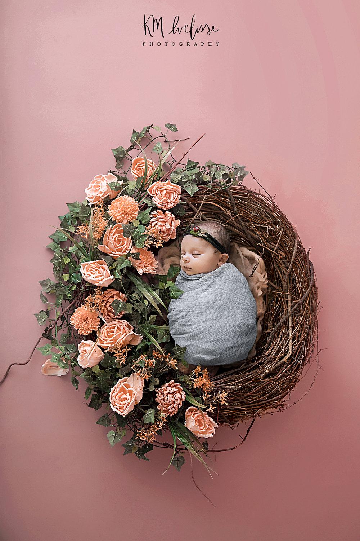 lifestyle newborn photo composite flower wood nest